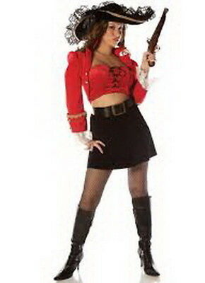 Pirate Lady Captain Ruby Sexy 3 Pc Red & Blk Velveteen Skirt Jacket W/ Bustier