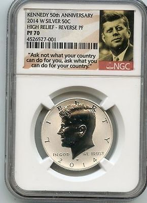 2014 W Silver Reverse Proof Kennedy Half NGC PF70 High Relief 50th Anniversary