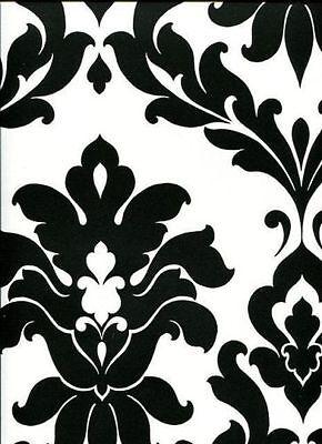 Black & White Bold Damask Large Pattern Wallpaper VG26230P](Black And White Damask)