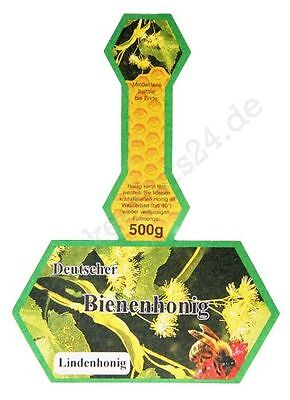 "Honig-Etikett, Stegetikett ""Lindenhonig"", 500 g, 100 Stück, selbstklebend"