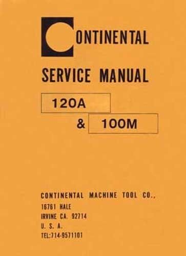 Continental 120A and 100M Band Saw Service Manual