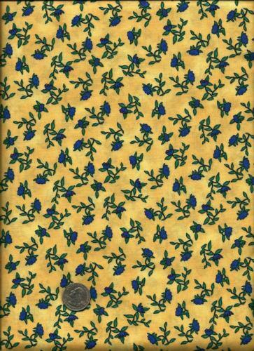 Yellow Blue Floral Fabric | eBay