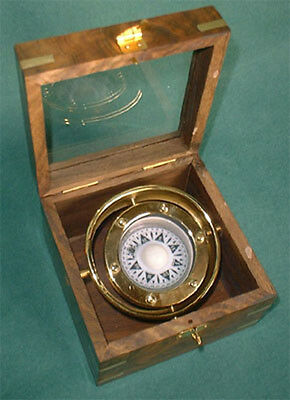 S28 - Marine Kompass im Chronometer Holzkasten