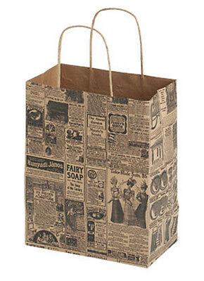 100 Medium Newsprint Paper Shopping Bags With Gusset Handles 8 X 4 X 10