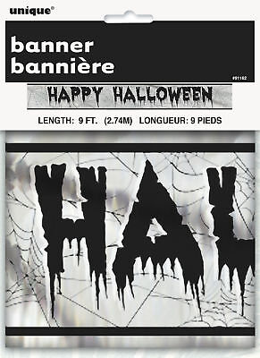 Happy Halloween Silver & Black Foil Banner Party Decoration Bunting Garland 9FT