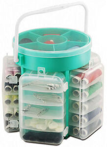 210 PC DELUXE SEWING KIT SET WITH STORAGE CADDY BOX THREAD NEEDLES PINS BUTTONS