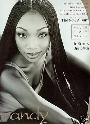 BRANDY returns with NEVER SAY NEVER Promo Poster Ad - mint condition