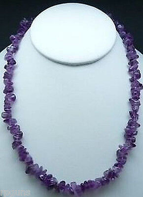 Crystal Bead Necklace (NATURAL AMETHYST CRYSTAL CHIP NECKLACE BEAD 18