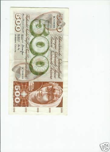 500 CHF! Schweizer Franken, Swiss Francs, Money Noten