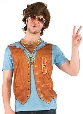 Behaarte Brust Shirt (Kunst- Echt Herren 1970 Behaarte Brust Halloween Hippie Frieden Kostüm T-Shirt)