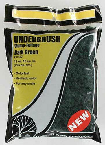 Woodland Scenics ~ Underbrush Clump Foliage 12oz Bag ~ Dark Green ~ FC137