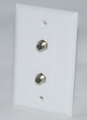 Dual TV F-81 Connectors Wall Plate White Cable Maid WPWD81-B Fast Shipping!! Dual Tv Wall Plate