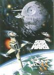 Fed plakat med kampscener fra de originale Star Wars. Mål...