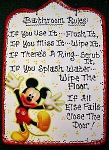 7x11 Bathroom Rules Mickey Mouse Sign Bath Disney Decor ...