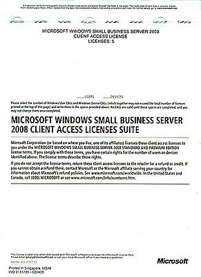 Microsoft Small Business Server 2008 Premium 5 User Or De...