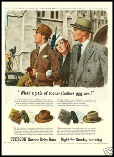 1947 vintage ad for Stetson Hats
