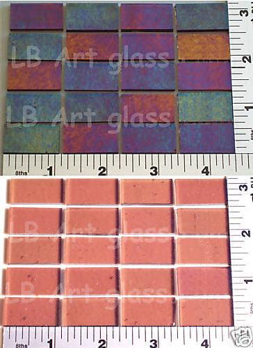 "12 ROSE 1/2"" x 1"" IRID BULLSEYE GLASS 90 COE COMPATIBLE"