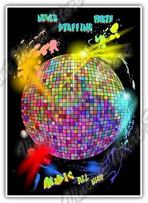 Disco Ball Music All Night Party Dancing Car Bumper Vinyl Sticker Decal - Disco Ball Stickers