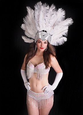White 3 pc Bra Top Belt Headdress Set Burlesque Costume Showgirl Sequin Beaded (White Burlesque Costumes)