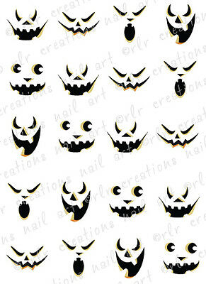 20 HALLOWEEN NAIL DECALS -SCARY JACK O LANTERN FACES WATER SLIDE DECALS PUMPKIN  - Scary Halloween Nails