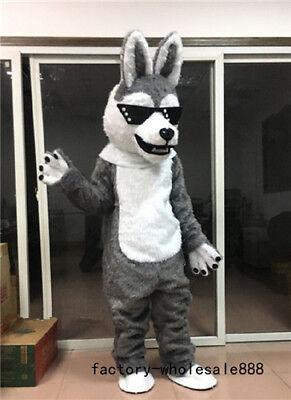 Halloween Gray Fur Husky Dog Mascot Costume suits Fox Adults Fancy dress - Gray Fox Halloween Costume