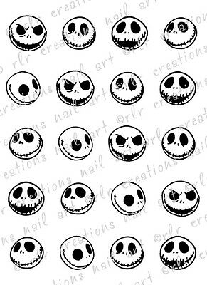 20 JACK SKELLINGTON NIGHTMARE BEFORE CHRISTMAS WATER SLIDE NAIL DECALS  NAIL - Christmas Nail Decals