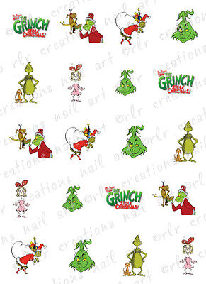 20 Christmas Nail Decals THE GRINCH Themed Assorted Water Slide Nail - Christmas Nail Decals
