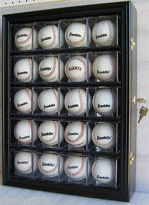20 Baseball/Cube Display Case Cabinet Holder Shadow Box , UV Protection, B20-BLA