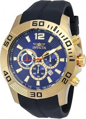 NEW MENS INVICTA (20299) PRO DIVER BLACK RUBBER STRAP GOLD TONE WATCH SALE!