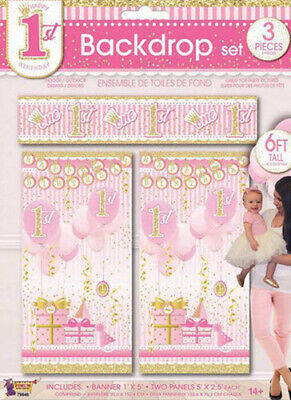 GIRL 1st Happy Birthday Scene Setter first Party pink wall decoration presents](Party Birthday Girl)