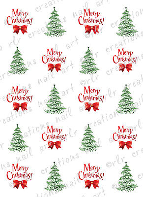20 Christmas Nail Decals MERRY CHRISTMAS AND TREES Water Slide Nail - Christmas Nail Decals