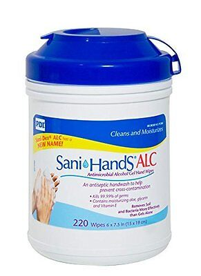 (Sani-Hands ALC Antimicrobial Alcohol Gel Hand Wipes, 220 CT, P15984 - CASE OF 6)