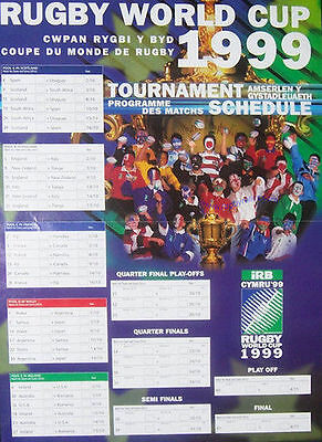RUGBY WORLD CUP POSTER 1999 TOURNAMENT SCHEDULE
