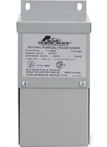 New ACME ELECTRIC T-1-53004 Transformer, 1 Phase, 50VA, 120/240V Out