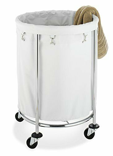 Whitmor Round Commercial Removable Liner and Heavy Duty Wheels-Chrome Laundry Ha
