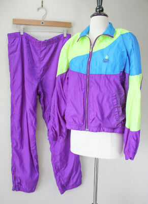 Vintage Track Suit Windbreaker Jacket Pants Neon Olympics 90s Costume Party