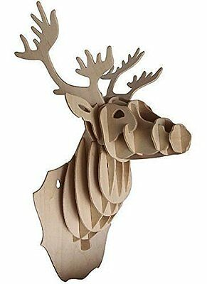 Deer Head: Woodcraft Quay Construction Wooden 3D Model Kit R001 Age 7 plus