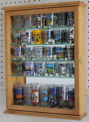 36 Shot Glass or 21 Shooter Display Case Cabinet Wall Holder Cabinet, SCD06-OA