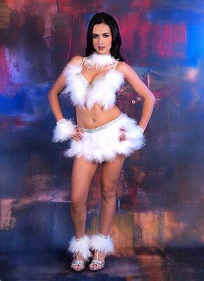 White 7 pc Bra Top Belt Feather Fur Rhinestone Costume Burlesque Showgirl Angel (White Burlesque Costumes)