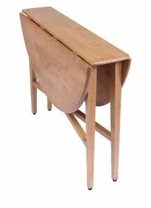 Round Drop Leaf Table 42 Inch Folding Dining Kitchen Space Save Furniture  Accent