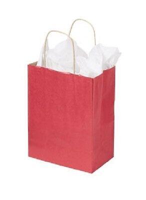 Paper Shopping Bags 100 Red 8 X 5 X 10 Retail Merchandise Gift Kraft