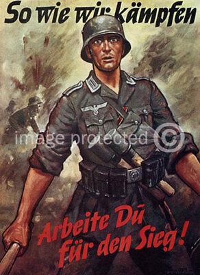 Vintage German Propaganda Poster So Wie Wir Kampfen - German Vintage Poster