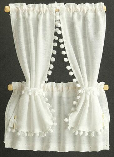 Dollhouse Miniature Cabin Curtains, White