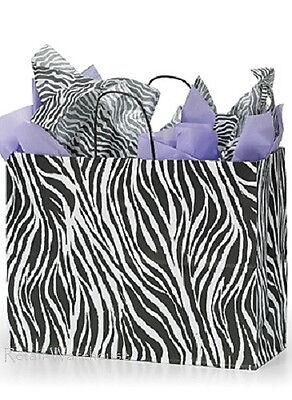 100 Paper Bags Shopping Vogue Zebra Print Merchandise Black White 16 X 6 X 12