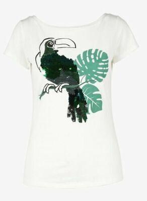 LIU JO Green Parrot Bird Sequins Womans Boat Neck T Shirt, WHITE NWOT Parrot Green T-shirt