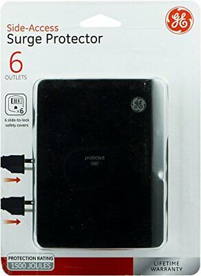 GE 6-Outlet Side Access Surge Protector Wall Tap 6 Slide To Lock Covers NEW!!
