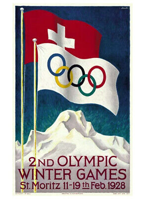 ST. MORITZ, FRANCE 1928 Winter Olympics Official Olympic Museum POSTER Reprint