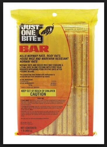 JUST ONE BITE II BAR. 1LB. MOUSE AND RAT POISON.