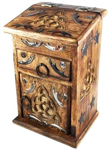 Beautiful Triquetra Witches Cupboard Herb Chest Wooden Box Antique Style NEW