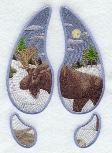 Embroidered Fleece Jacket - Moose Track Scene Winter A2618 Sizes S - XXL